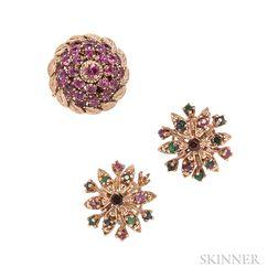14kt Gold Gem-set Ring and Earrings