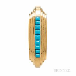 Retro Gold and Turquoise Clip