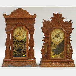 Two William L. Gilbert Oak Gingerbread Shelf Clocks