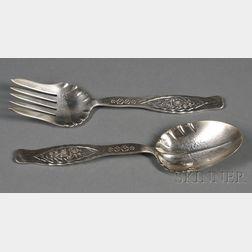 """Pair of Whiting """"Dandelion"""" Pattern Sterling Salad or Vegetable Servers"""