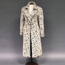 Emanuel Ungaro Black and White Alpaca Wool Lady's Overcoat