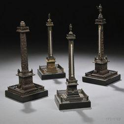 Four Grand Tour Bronze Models of Monument Columns