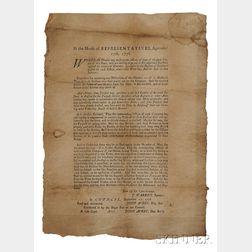Massachusetts General Court, Resolves In the House of Representatives, September 17th, 1776.