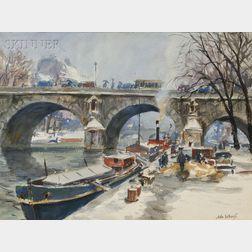 John Whorf (American, 1903-1959)      Pont Marie, l'Hiver