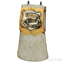 """Painted and Gilded Axe-form """"E.C. SIMMONS KEEN CUTTER"""" Advertising Sign"""