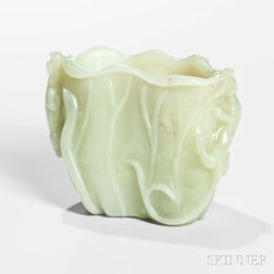 Pale Celadon Jade Brush Pot