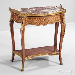 Louis XV-style Parquetry-inlaid Table en Chiffonier