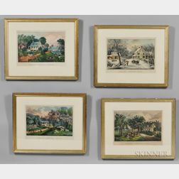 Currier & Ives, Publishers (American, 1857-1907)       Four Prints: AMERICAN HOMESTEAD