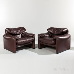 Pair of Vico Magistretti for Cassina Maralunga Chairs