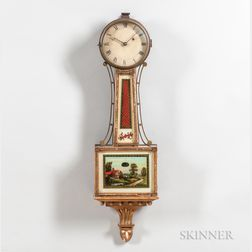 "New England Gilt-front Mahogany Patent Timepiece or ""Banjo"" Clock"