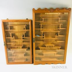 Two Glazed Wall-mounted Display Cabinets