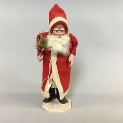 Carved and Painted Wood and Felt Father Christmas Candy Container
