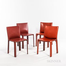 Two Mario Bellini for Cassina Model CAB 412 and Two de Couro of Brazil Side Chairs