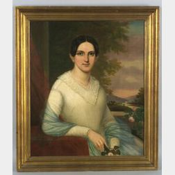 American School, 19th Century  Portrait of a Woman Holding a Pink Rose in a Landscape.