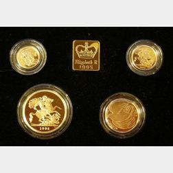 1995 United Kingdom Gold Proof Four Coin Sovereign Collection