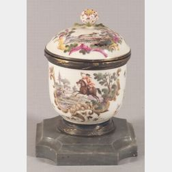 Rococo-style Dresden Porcelain and French Silver Mounted Inkwell