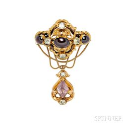 Gold, Garnet, Chrysolite, and Amethyst Brooch