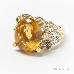 18kt Bicolor Gold, Citrine, and Diamond Ring