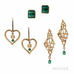 Three Pairs of Gold Gem-set Earrings