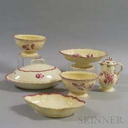 Six Puce Floral-decorated Staffordshire Items