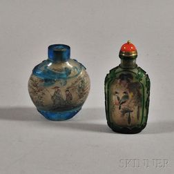 Two Interior Painted Peking Glass Snuff Bottles