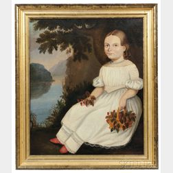 Attributed to Hannah Fairfield (Connecticut, 1808-1894)      Portrait of a Girl in a White Dress Holding a Basket of Strawberries