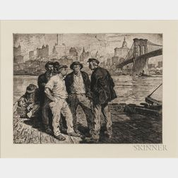Martin Lewis (American, 1881-1962)      Dock Workers under the Brooklyn Bridge