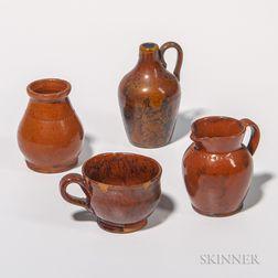 Four Miniature Glazed Redware Table Items