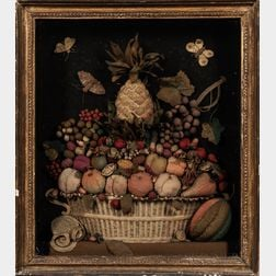Stuffed and Embroidered Wool Felt Basket of Fruit Shadow Box