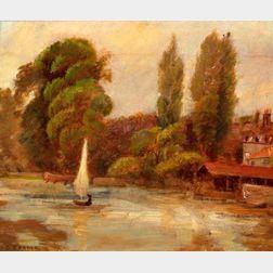 Manner of John Crome, Senior (British, 1768-1821)    A Sail on the River.