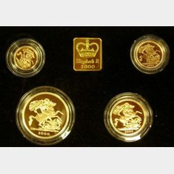 2000 United Kingdom Gold Proof Sovereign Four Coin Collection