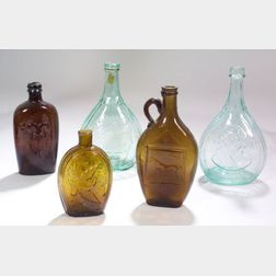 Five Colored Blown Molded Historical Glass Flasks