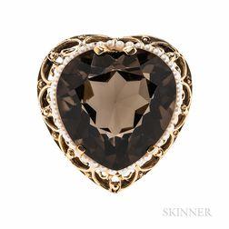 14kt Gold, Smoky Quartz, and Cultured Pearl Pendant/Brooch