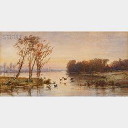 Jasper Francis Cropsey (American, 1823-1900)      On the Lake