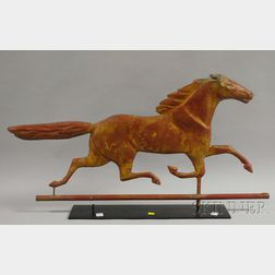 Red-painted Molded Copper Running Horse Weather Vane