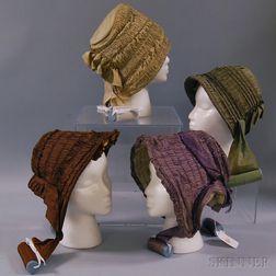 Four Shirred Silk Bonnets