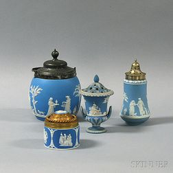 Four Wedgwood Light Blue Jasper Items