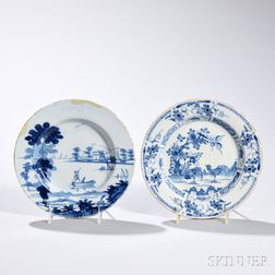 Two Tin-glazed Earthenware Blue Decorated Plates