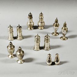 Five Pairs of Sterling Silver Salt Shakers