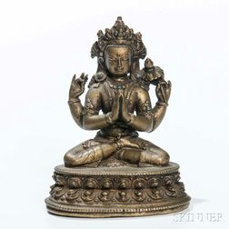 Bronze Figure of Four-armed Sadaksari Avalokitesvara