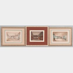 British School, 19th Century, Three Framed Etchings of Historic Interiors:, James Stephanoff (British, 1784-1874), Guard Chambers, Hamp