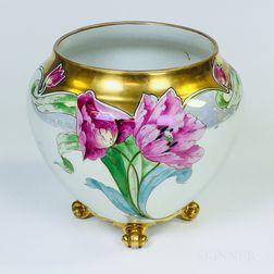 Limoges Floral Hand-painted Porcelain Jardiniere