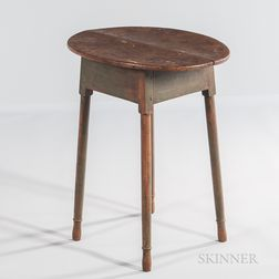 Small Green/blue-painted Oval-top Table