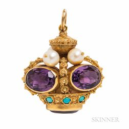 18kt Gold, Amethyst, Cultured Pearl, and Turquoise Charm