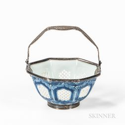 Small Export Blue and White Bowl in a Silver Basket