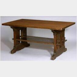 Lifetime Oak Arts &Crafts Trestle Table