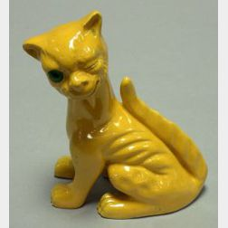 Aller Vale Yellow Glazed Grotesque Winking Cat Figural with Green Glass Eye.