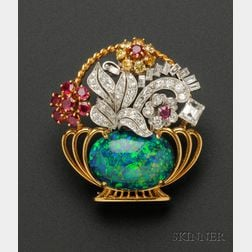 Black Opal, Ruby, Colored Diamond and Diamond Brooch, Raymond Yard