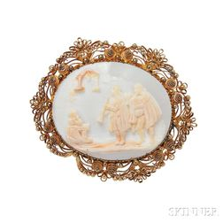 Gold and Shell Cameo Brooch