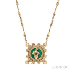 18kt Gold and Enamel Pendant Necklace, Salvador Dali